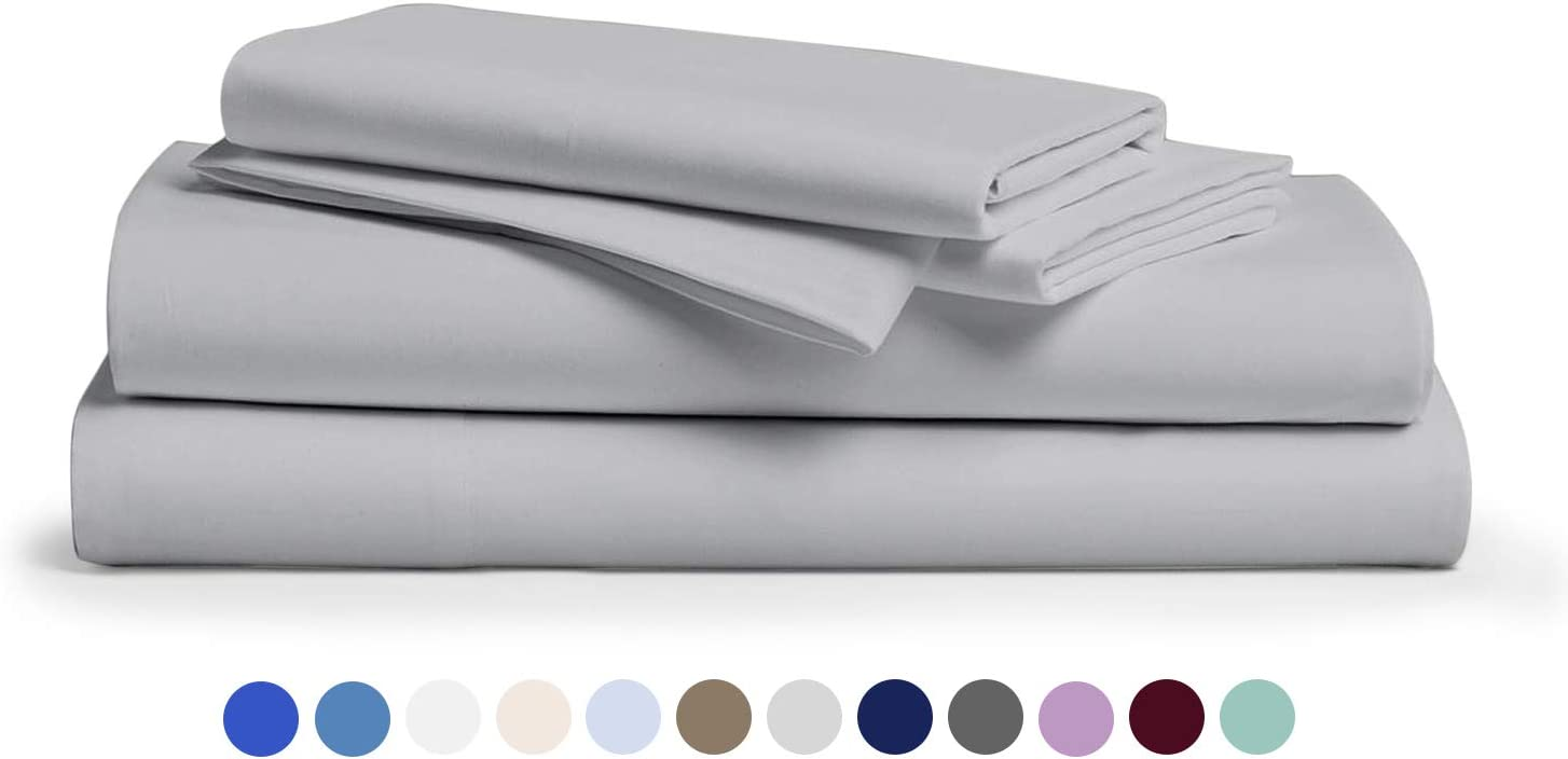 Comfy Sheets 100% Egyptian Cotton Sheets- 1000 Thread Count 4 Pc Queen Sheets Cotton Silver Bed Sheet with Pillowcases, Hotel Quality Fits Mattress Up to 18'' Deep Pocket.