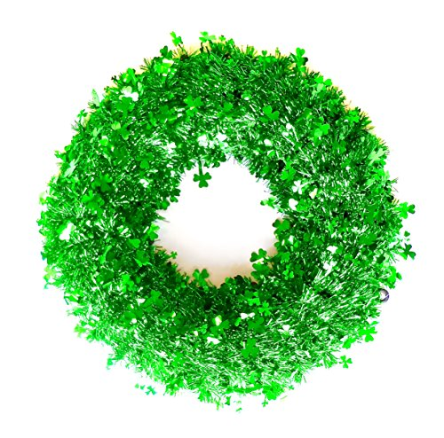 (Shamrock Tinsel Wreath,Green Foil Shamrocks,plastic frame,hanging circle.18