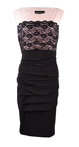 ed43a41a1fe Connected Apparel Womens Lace Overlay Sleeveless Cocktail Dress Pink 6P at  Amazon Women's Clothing store: