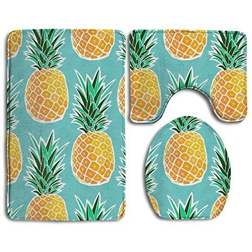 Bath Mat,Hawaiian Tropical Pineapple Bathroom Carpet Rug,Non-Slip 3 Piece Bathroom Mat Set