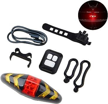 Luz Trasera de la Bicicleta Control Remoto inalámbrico Bicicleta de montaña 2-en-1 Luz Intermitente Trasera Luz USB Equitación: Amazon.es: Deportes y aire libre
