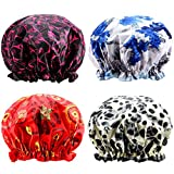 Shower Cap, ESARORA 4 PACK Bath Cap Designed for Women Waterproof Double Layer-Large Enough for Most Hair Lengths and Thicknesses