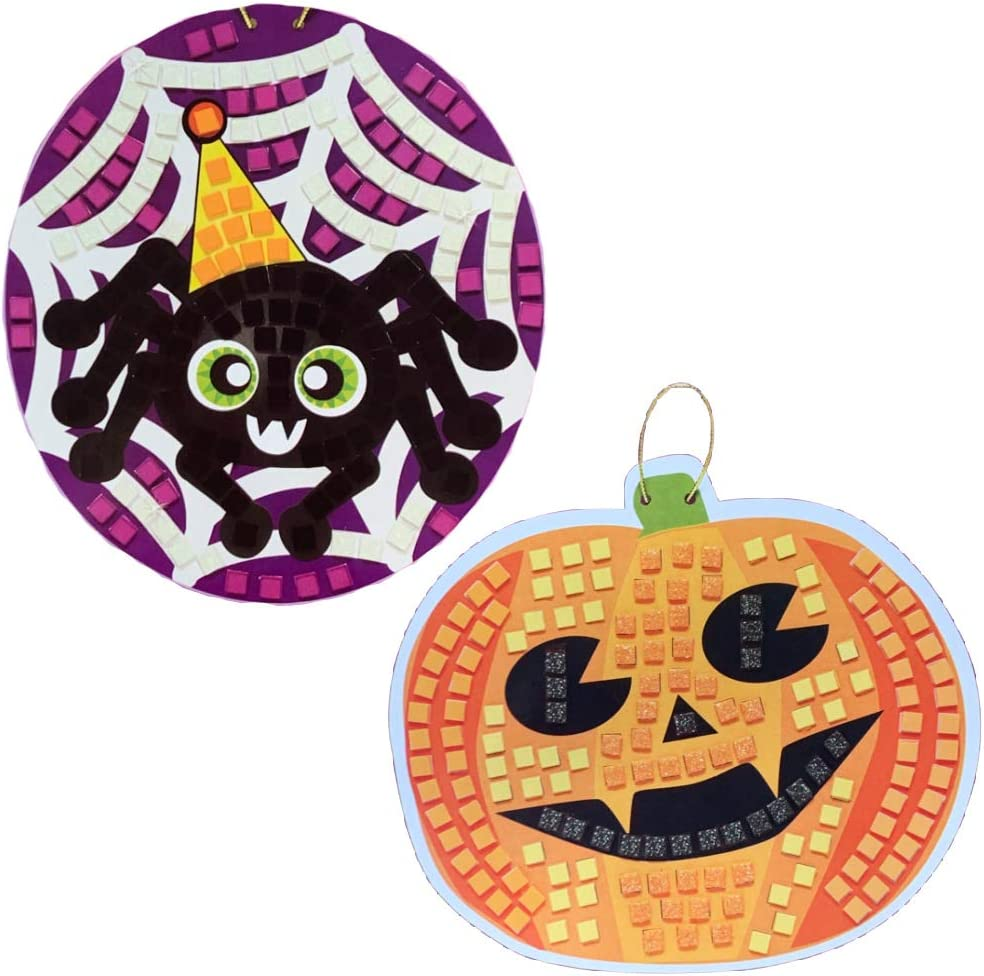 MMS Gifts Halloween Mosaic Sticker Art Kit for Kids Variety Pack 1 Pumpkin and 1 Spider 385 Pcs Total