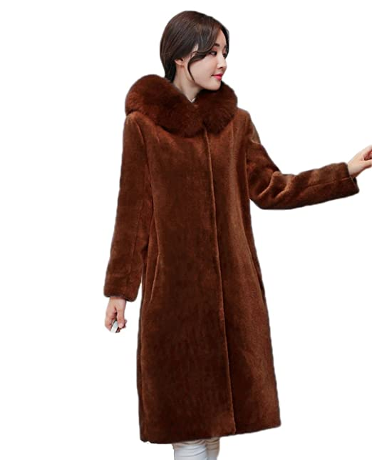 Amazon.com: MAGUBA Winter Fur Hooded Coats Feminino Wool Casaco Cardigan Cashmere Coat: Clothing
