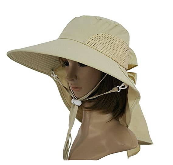 fe532b095d7 KM Women Outdoor UV Protection Sun Shade Wide Brim Sun Hat Beach Hat With Ponytail  Opening