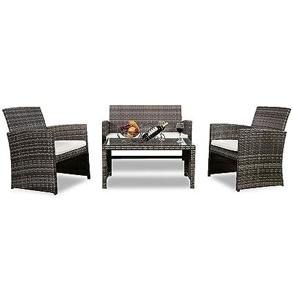 Amazon.com: Alek...Shop - Juego de muebles de ratán para ...