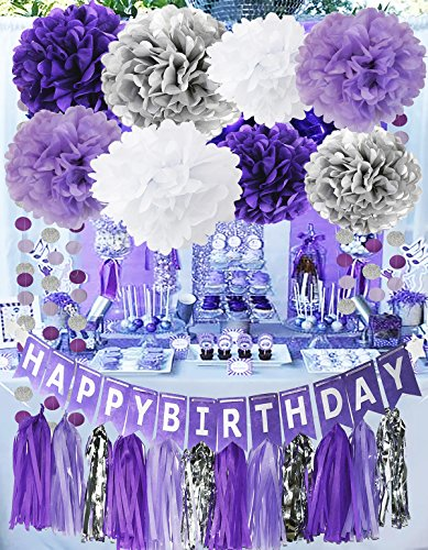 Purple Party Decorations Purple White Silver Tissue Pom Pom Happy Birthday Banner Purple White Ballons Circle Paper Garland for Birthday Party Decorations/Baby Shower Decorations