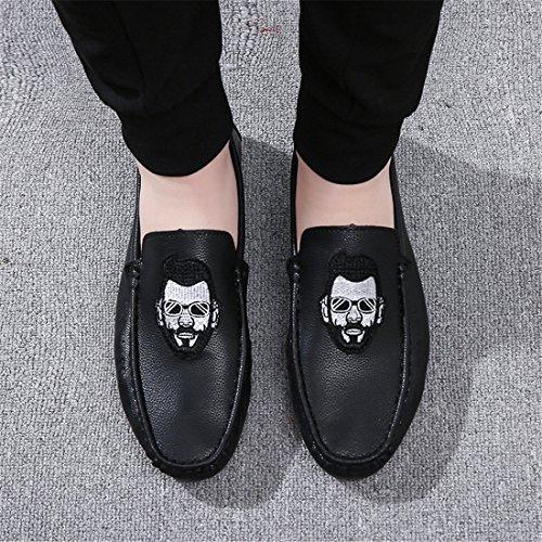 Mocasines Casuales Clásicos Para Hombres - Mocasines De Conducción Slip Suave En Los Zapatos A87 Negro