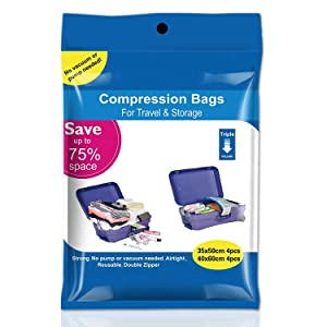 Space Saver Vacuum Storage Bags 8 Pack (4 x Small, 4 x Medium) Space Saver Compression Bags No Vacuum or Pump Needed, Vacuum Storage Bags for Clothes Travel, Durable and Reusable By WETONG