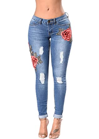 Waisted OLRAIN US Pants High Embroidered Skinny Denim Jeans Women's vtxtrwqT