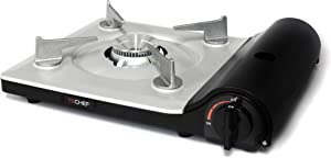 TECHEF AG28BK Agni Portable Butane Gas Stove Burner, Made in Korea, Slim Design Black
