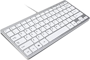GMYLE Compact Wired USB Mini Keyboard for PC (Metallic Silver and White)