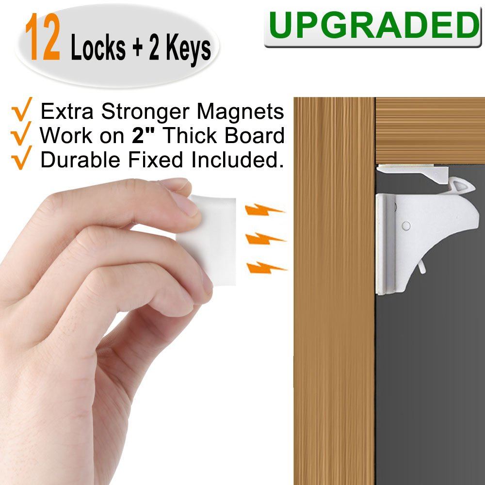 Baby Proofing Magnetic Cabinet Locks Child Safety - VMAISI 12 Pack Children Proof Cupboard Baby Locks Latches with 3M Adhesive for Cabinet & Drawers with Screws Durable Fixed