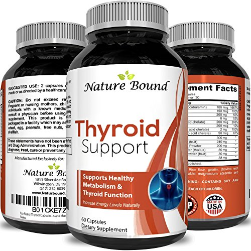 Top Rated Thyroid Capsules Thyroid Helper for Weight Loss Antioxidant Increase Vitality Maximum Strength Energy Booster with B-12 Iodine Zinc Ashwagandha and Kelp for Women and Men by Nature Bound