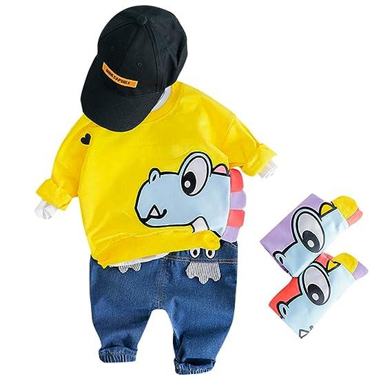 Mitlfuny Niñas Niño Sudaderas de Deporte Jeans Conjunto de Ropa Bebé  Dinosaurio Dibujos Animados Camisas de 9bcfcea6824ca