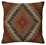 Rizzy Home T05804 Woven Southwestern Patten Decorative Pillow, 18 by 18-Inch, Rust