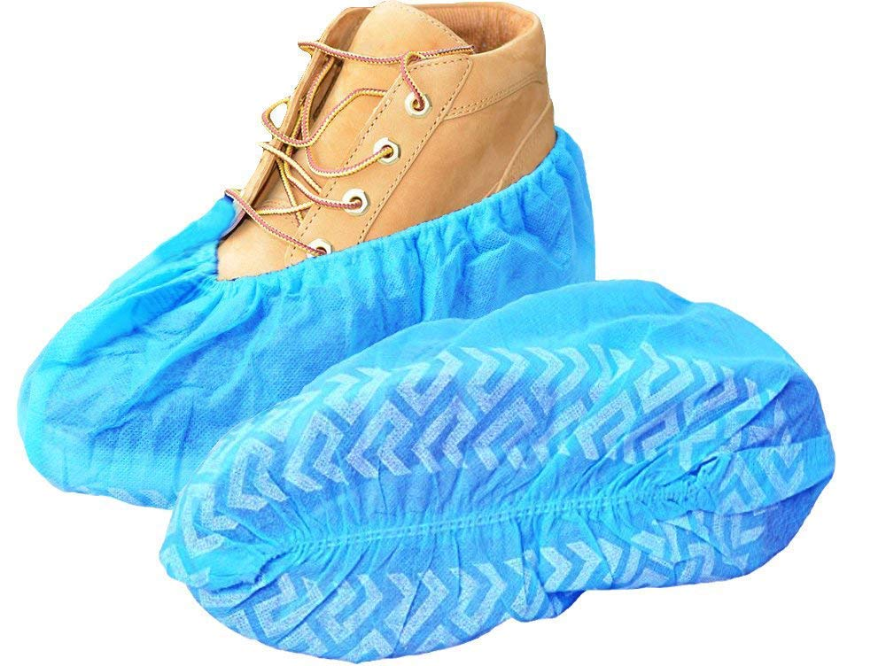 100 Pack Shoe Covers - Disposable Hygienic Boot Cover for Medical, Construction, Workplace, Indoor Carpet Floor Protection - 50 Pairs - Non-Slip by Careoutfit (XX-Large)