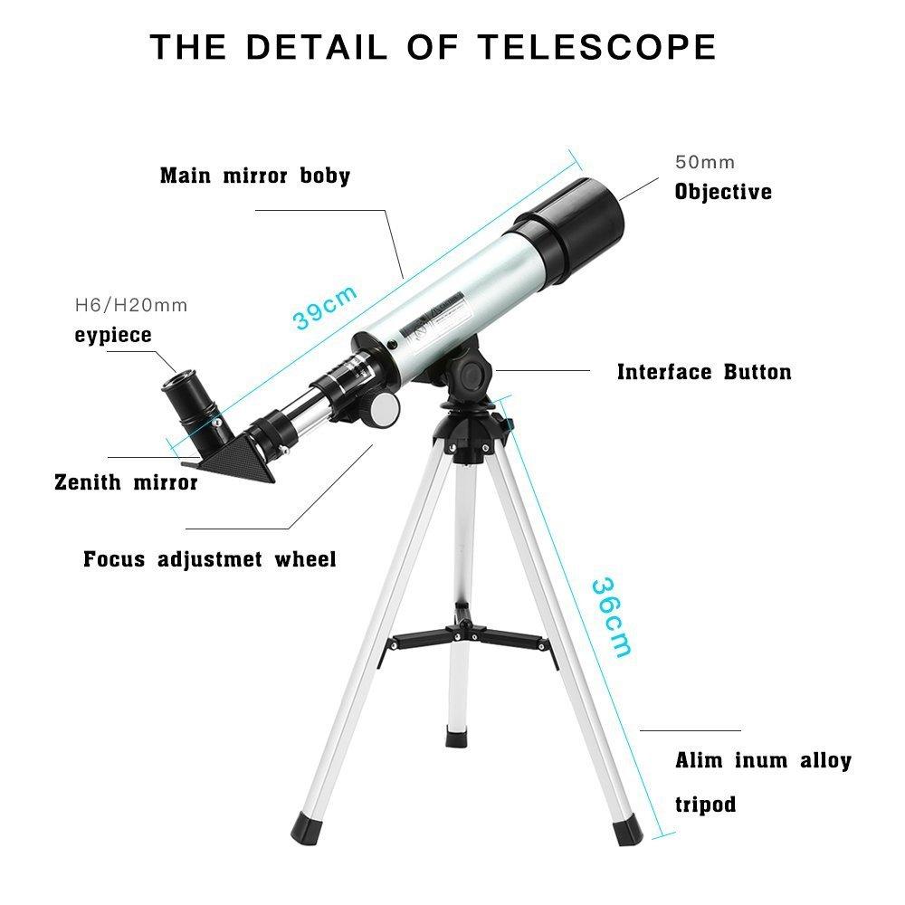 Télescope Astronomique Monoculaire Zoom HD 360/50 mm Extérieur avec Trépied Espace Réfracteur Astronomique