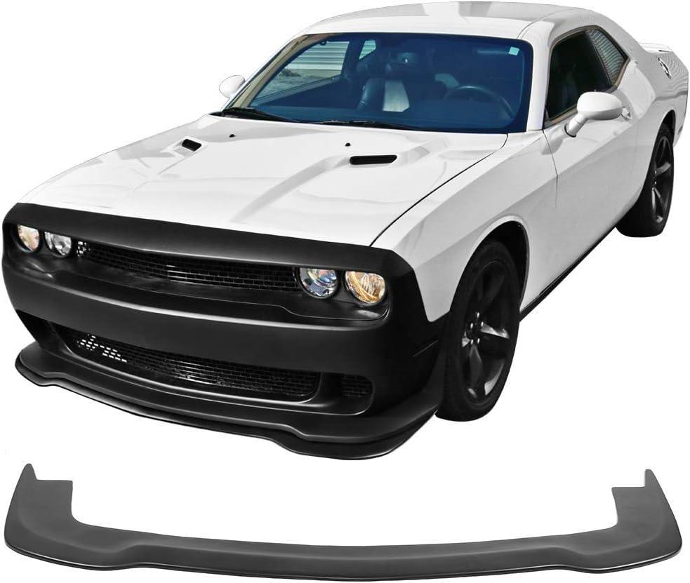 Front Bumper Lip Fits 2015-2019 Dodge Challenger SXT Matte Black PP Front Lip Splitters Chin Spoiler Polypropylene by IKON MOTORSPORTS 2016 2017 2018