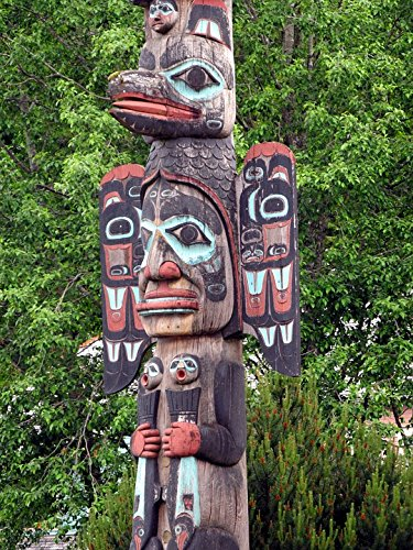 Home Comforts Peel-n-Stick Poster of Alaska Indian Native Pole American Totem Faces Poster 24x16 Adhesive Sticker Poster Print (Native Totem Indian American Poles)