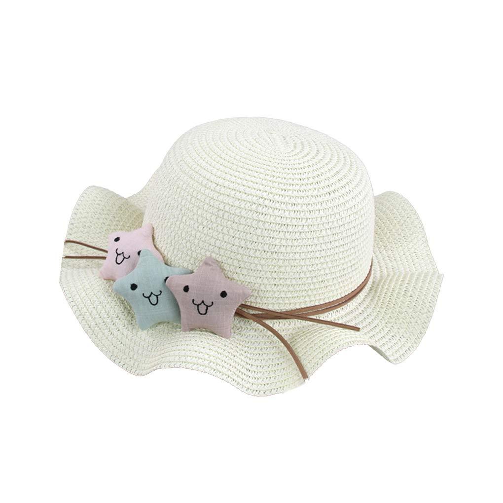 Riverlily Little Stars Ruffled Children Straw Hat Baby Summer Outdoor Sun Hat Toddlers Cartoon Ripple Edge Cap