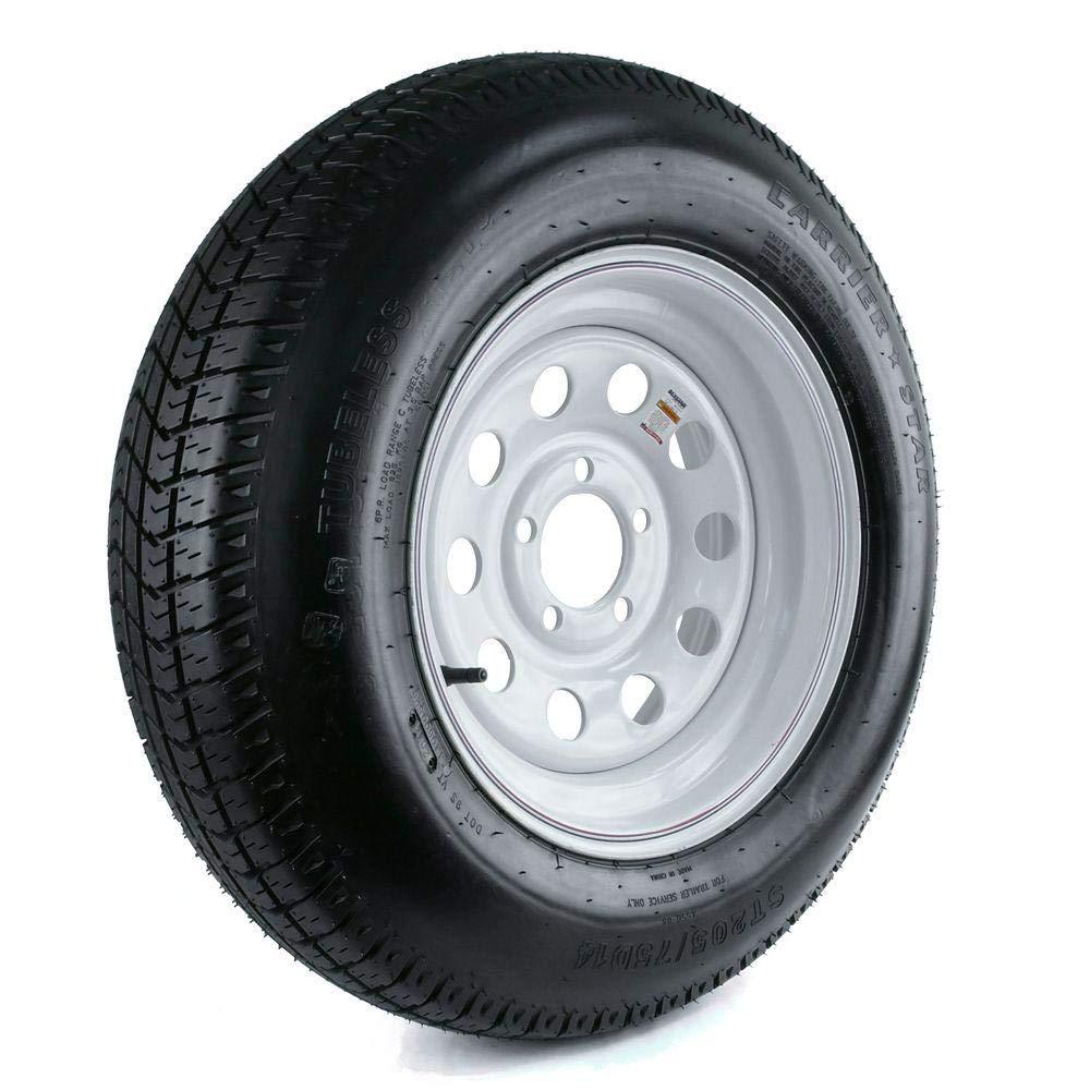 530-12 Load Range C Tire mounted on 5 bolt WHITE Powder Coated steel rim