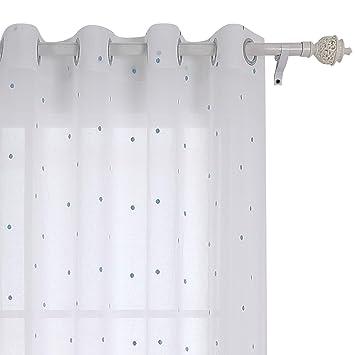 Deconovo Voile Vorhang Osen Vorhange Kinderzimmer Dekosachals Bestickte Vorhang Voile 175x140 Cm Blau Punkt
