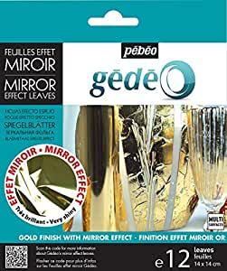 Pebeo 766549 Gedeo Mirror Effect Leaves Adhesive Sheet, Gold
