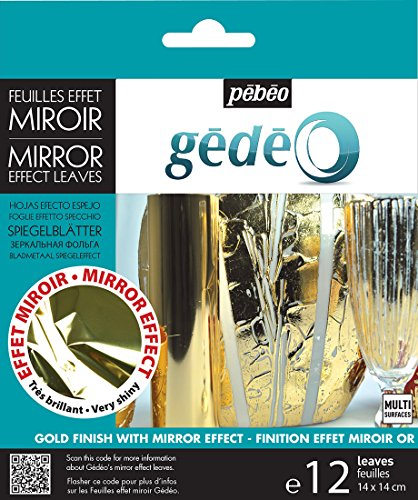 Pebeo 766549 Gedeo Mirror Effect Leaves Adhesive Sheet, (Leaf Effect)