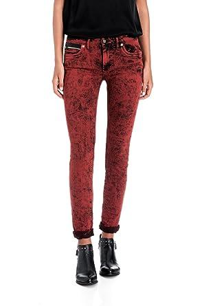 1c8028f37426 Salsa - Pantalon Push Up Wonder Slim avec Effets de Couleur - Femme - Rouge