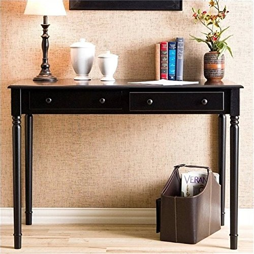 (Janice 2 Drawer Writing Desk - Slim Profile Design - Satin Black Finish)
