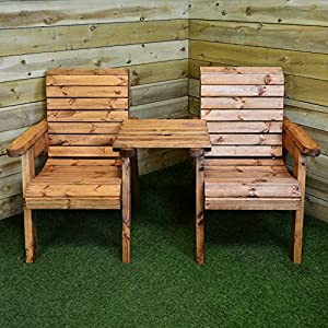 hand made 2 seater chunky rustic wooden garden furniture companion love seat