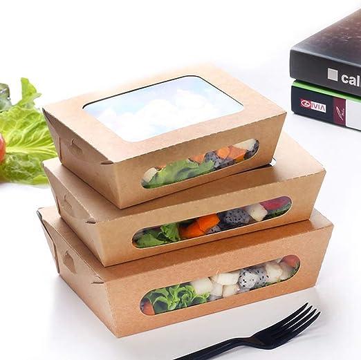 Lhl Fiambrera plástica desechable de Papel Kraft - Transparente Sushi Sashimi Cake Caja de Embalaje de Frutas [100 Pack] cenicero (Color : 1#): Amazon.es: Hogar