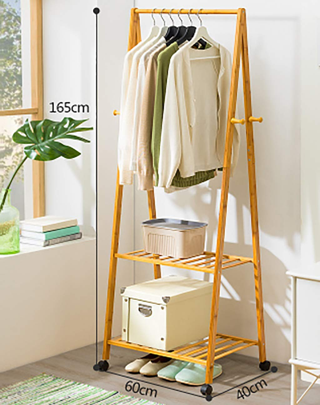 B 6040165cm Coat Stand,Housewares Standing Coat and Hat Rack Bamboo Wooden Creative Storage Shelves Hanger