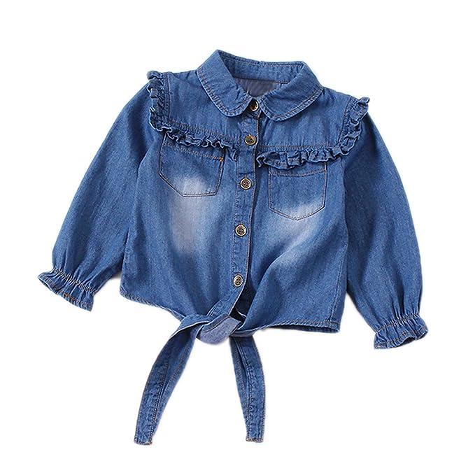8749ae1e627ea7 Toddler Girls Crop Tie Tops Denim Shawl Jeans Shirt Children's Casual  Blouse Dark Blue Size 3