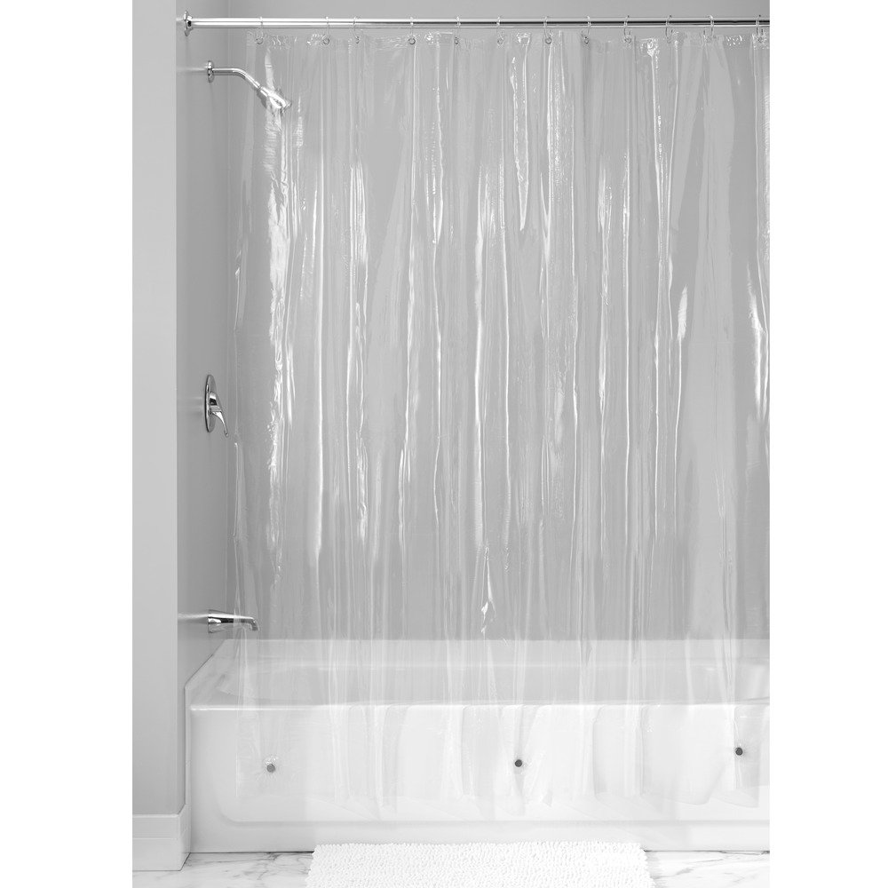 InterDesign Mildew-Resistant, Vinyl 4.8 Gauge Shower Curtain Liner with 12 Rings - 72