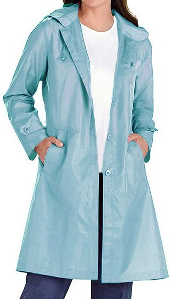 QZUnique Womens Lightweight MD-Long Hooded Windbreaker Outdoor Coat Water Resistant