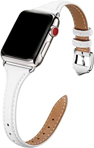 WFEAGL Leather Bands Compatible with Apple Watch 38mm 40mm 42mm 44mm, Top Grain Leather Band Slim & Thin Wristband for iWatch SE & Series 6/5/4/3/2/1 (White Band+Silver Adapter, 38mm 40mm)