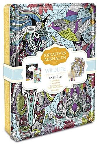Kreatives ausmalen - Wildlife: Box mit Malblock, Malbuch, Malposter & 8 Buntstiften