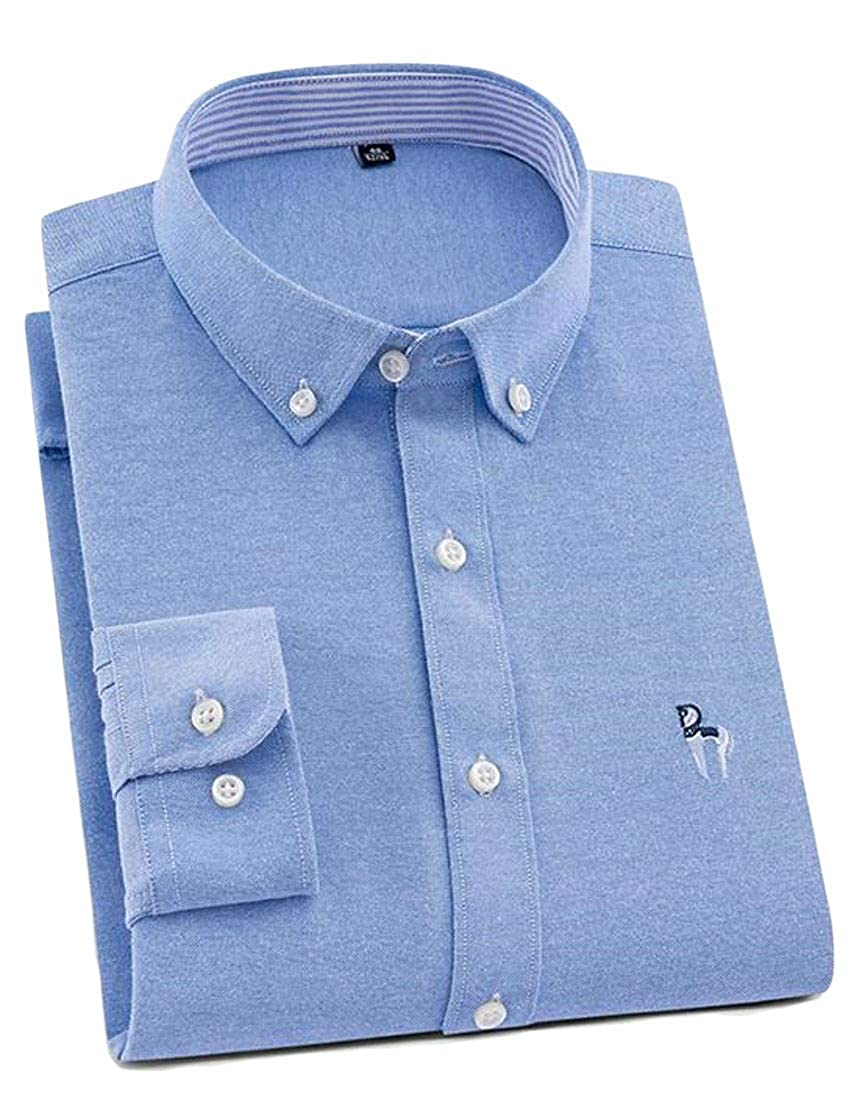 Pandapang Men Button Up Casual Striped Classic Fit Oxford Long Sleeve Shirts