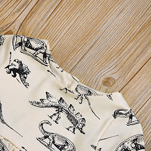 Mini honey Infant Baby Girls Summer Playwear Sun Dresses One-Piece Dress With Dinosaurs Print (3-6 Months, Beige) by Mini honey (Image #4)