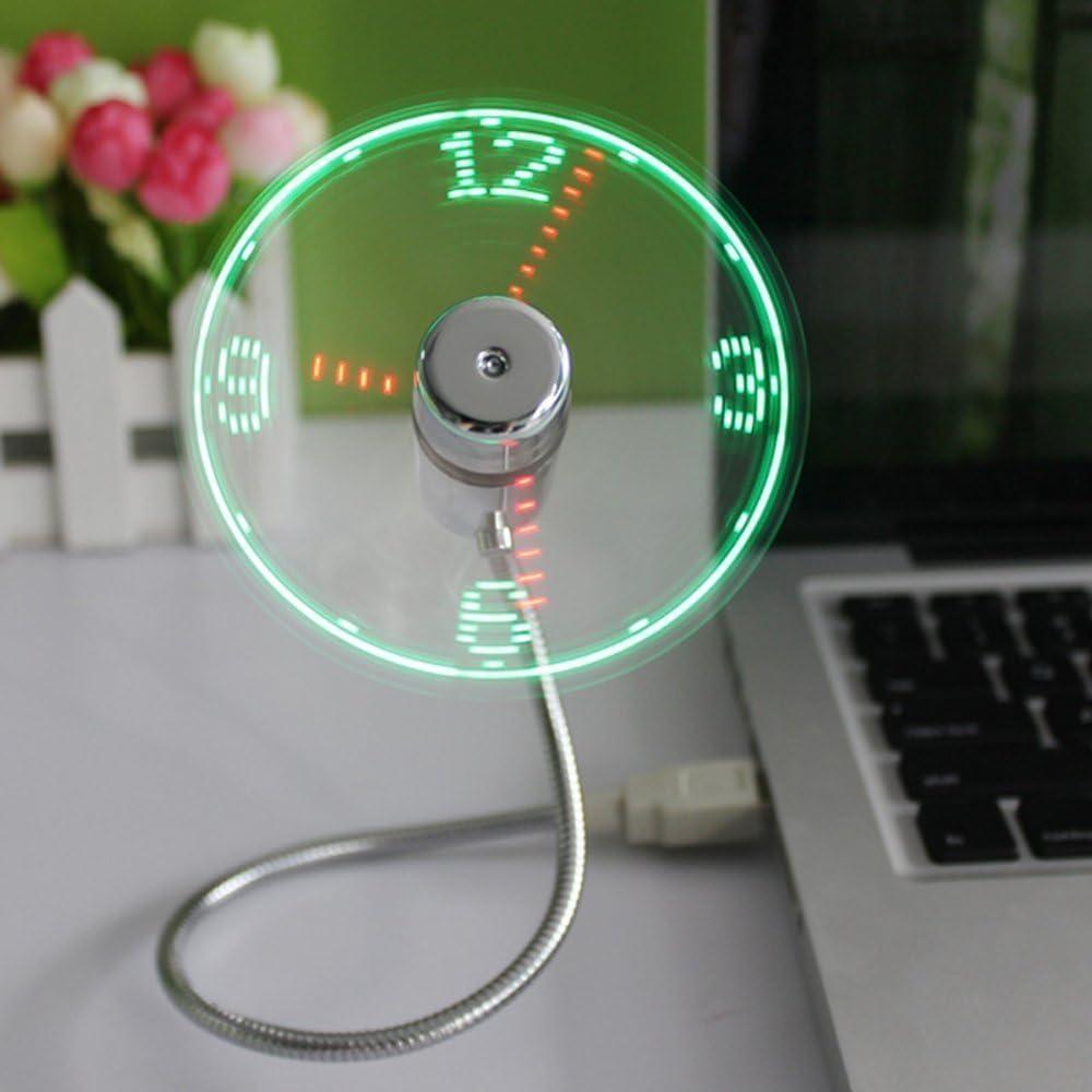 HuiHeng - Mini ventilador de reloj USB con diseño de cuello de cisne flexible y mini USB LED con visualización de la hora, ventilador para ordenador portátil y ordenadores de sobremesa