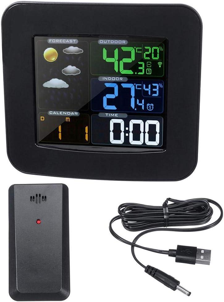 Oipoodde Termómetro Estación meteorológica inalámbrica termómetro de Alta definición de Pantalla Digital de Humedad de la Temperatura del Reloj Negro Sensor + Termómetro Digital