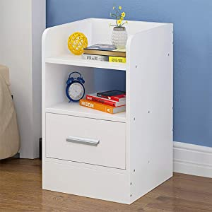 Bedside Cabinet Wooden Bedroom Bedside End Table High Gloss Storage Nightstand Storage Rack Home/Office Bedside Cabinet with Drawers and Shelf,45x30x26cm,White. (White)