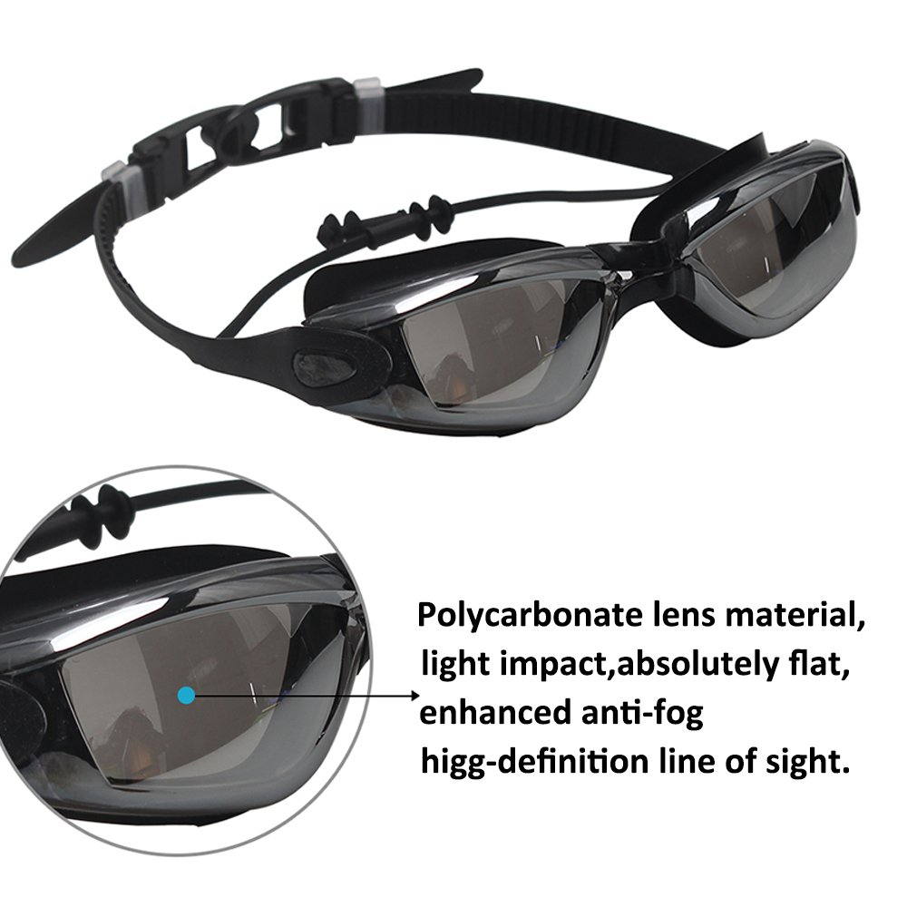 FANMAOUS Fanmoues Swim Goggles, Swimming Goggles No Leaking Anti Fog UV Protection Triathlon Swim Goggles with Free Protection Case for Adult Men Women Youth Kids Child(Black)