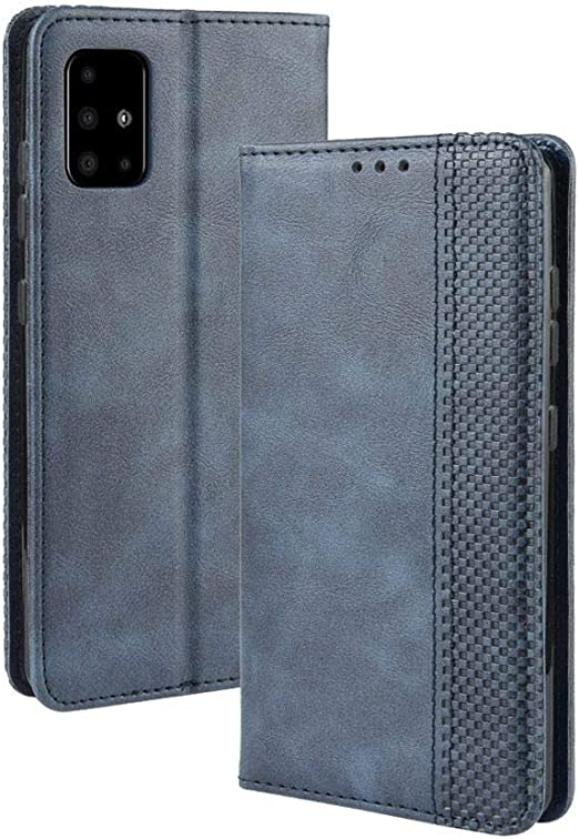 LCHULLE Imperial Crown Samsung Galaxy A71 Case Leather Wallet Book Flip Folio Stand View Case Samsung Galaxy A71 Phone Case Cover-Black