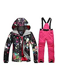 Women's High Waterproof Snowboard Colorful Printed Ski Jacket and Pants