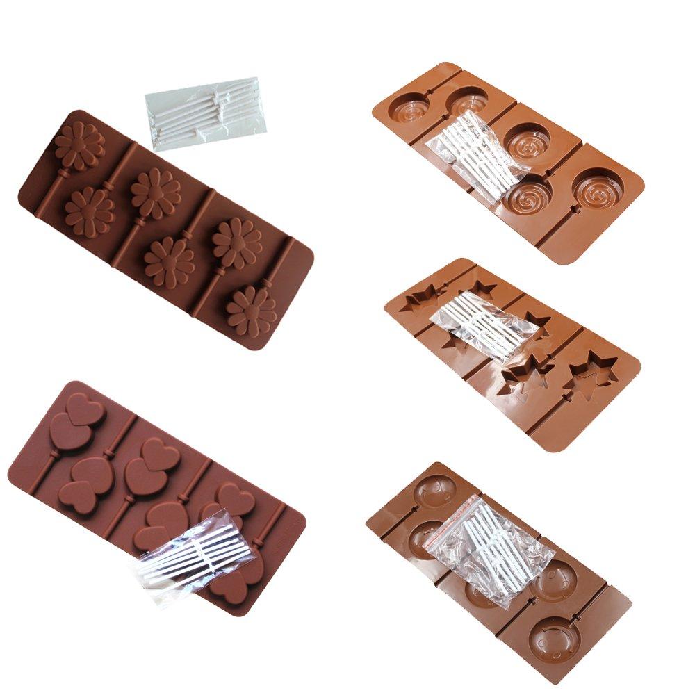 /étoile rond BAKER DEPOT Moule /à chocolat au chocolat au silicone avec 6 trous visage souriant design etc ensemble de 5 double coeur petite fleur