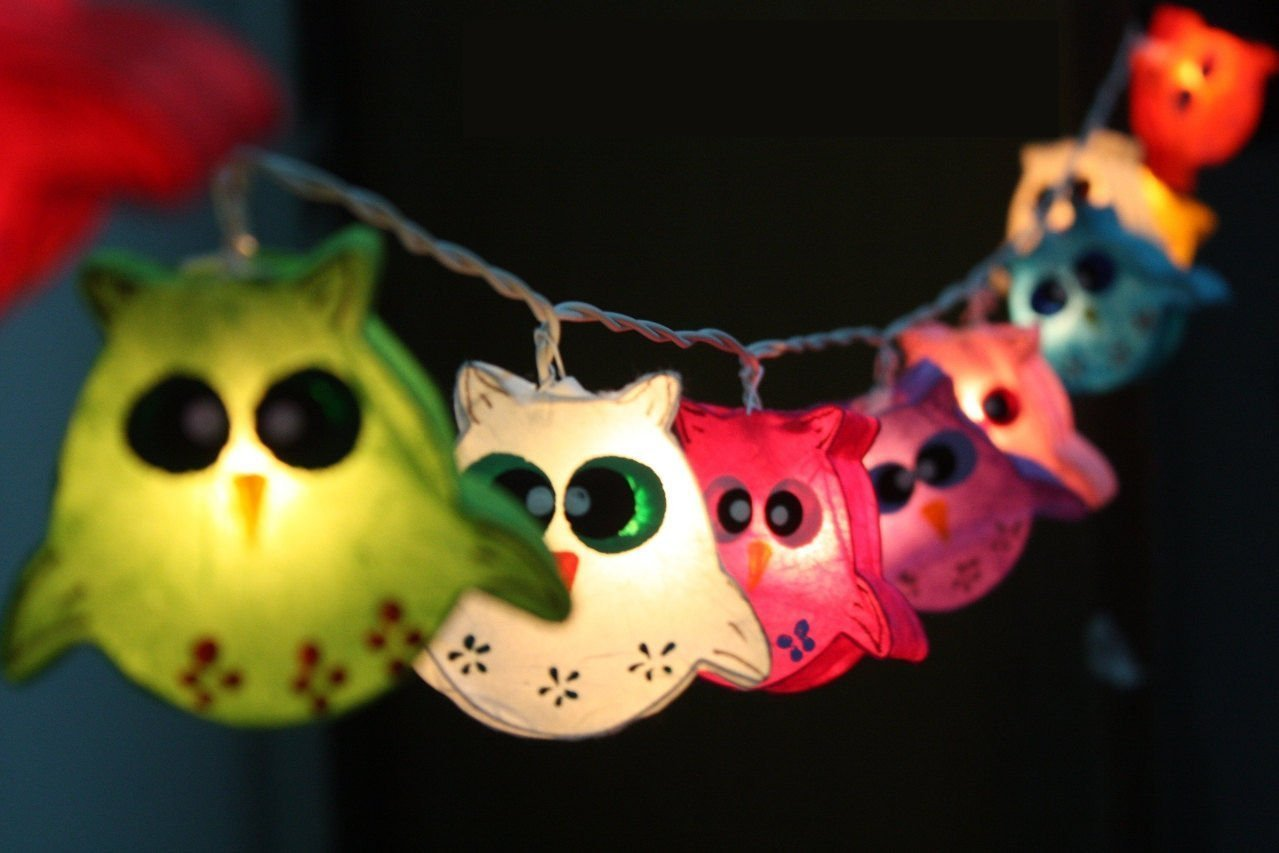 Night Lights Owl Lamp Hanging Lights for Childern Bedroom Decoration 20 Lights/set by Thai Decorated. by Thai Decorated