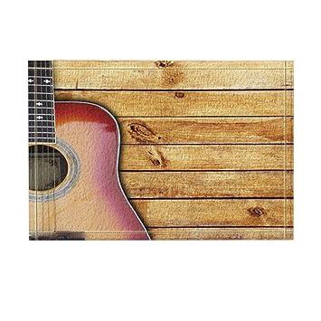 Impresión digital 3D Guitarras Decoración guitarras en tablones de madera rústica Alfombras de baño Antideslizante felpudo ...